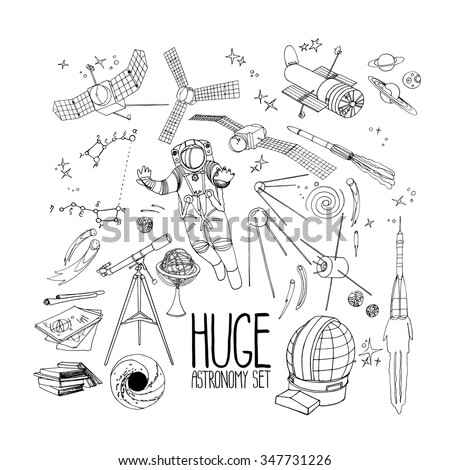 Graphic astronomy set. Vector hand drawn design elements isolated on white background. Coloring book page design for adults and kids - stock vector