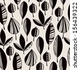 Graphic black and white endless texture with ornamental leaves. Seamless ethnic pattern, template for design fabric, covers, backgrounds, package - stock