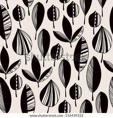 Graphic black and white endless texture with ornamental leaves. Seamless ethnic pattern, template for design fabric, covers, backgrounds, package - stock vector