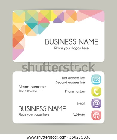 Graphic business card design. Front and back. Vector set. - stock vector