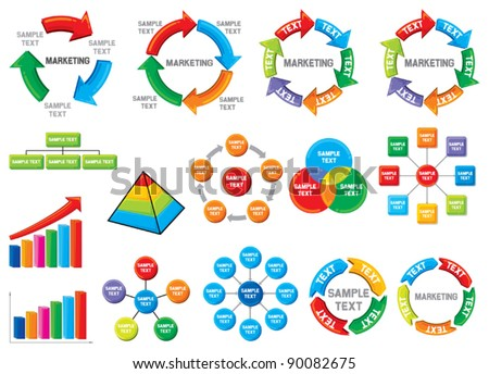 Graphic business diagram collection (business process diagrams, bar graph, business diagram, circle chart, business process) - stock vector
