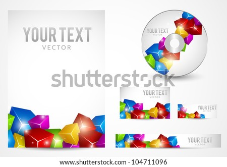 Graphic Business Layout with place for logo and text - stock vector