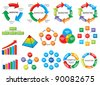 Graphic business process diagram collection (bar graph, circle chart) - stock photo