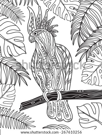 Graphic cockatoo parrot on a branch with tropical leaves. Vector illustration - stock vector