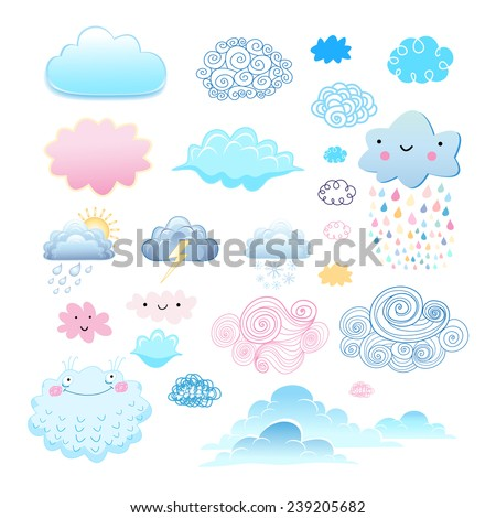 graphic collection of different clouds on a white background  - stock vector
