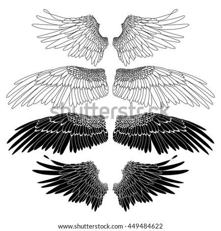 Pair Black And White Line Art Owl Design