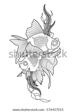 Graphic Couple Of Telescope Fish With Green Abstract Stripe Vector Freshwater Creature Isolated On White