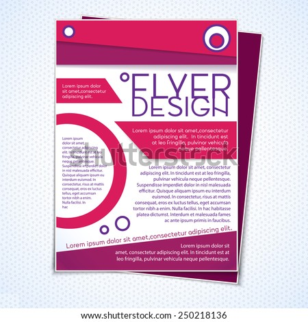 Graphic design and layout template concept for flying brochure flyer poster - stock vector