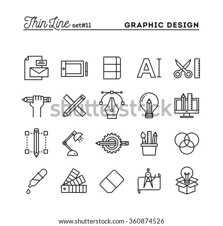 Graphic design, creative package, stationary, software and more, thin line icons set, vector illustration - stock vector