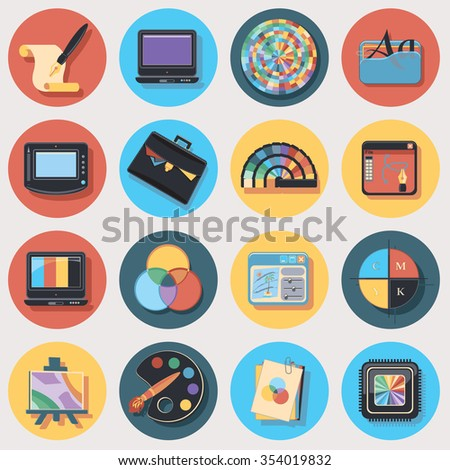 graphic design flat set - stock vector