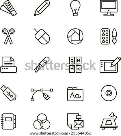 Graphic Design icon set - stock vector