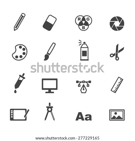 Graphic Design Icons Mono Vector Symbols Stockvector Rechtenvrij