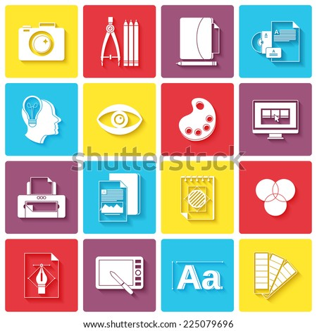 Graphic design icons set with palette sketching digital designer isolated vector illustration - stock vector