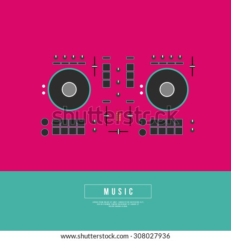 Graphic Design Musical on World off Concept - DJ Turntables in Minimal Style - stock vector