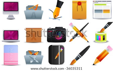 Graphic Design  set of 15 icons - stock vector