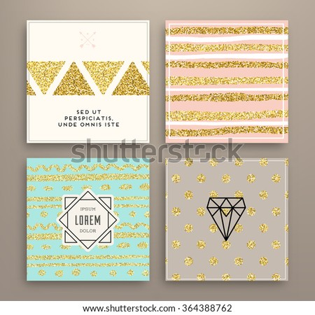 Graphic Design Templates Set for Logo, Labels and Badges. Abstract Line Patterns Backgrounds. Collection for Banners, Flyers, Placards and Posters. Retro Backgrounds. Gold Glitter Trendy Texture. - stock vector