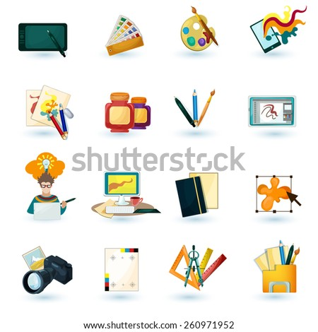 Graphic designer decorative icons set with tablet paint palette isolated vector illustration - stock vector