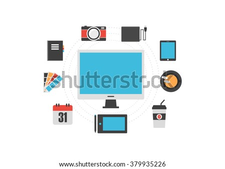 graphic designer gadget, isolated on white background - stock vector