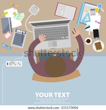 Graphic designer in flat style. - stock vector