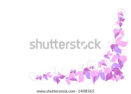 Graphic element of pink flowers - stock vector