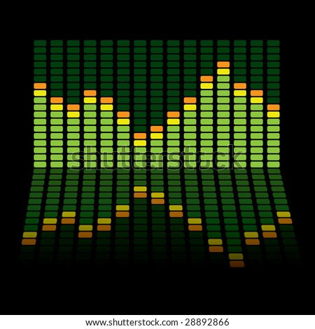 Graphic equalizer background with the chart reflected in the black surface - stock vector