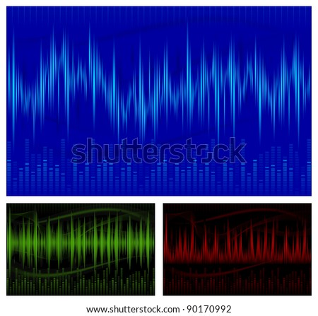 Graphic equalizer display, sound waves, music background, vector illustration - stock vector