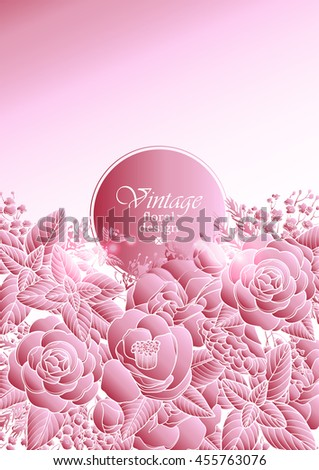 Graphic floral card. Vector leaves and flowers in pink colors. Wedding style decorations.