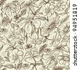 Graphic floral seamless pattern, vintage style texture - stock vector