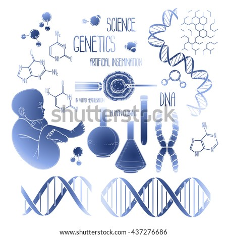 Graphic genetic research set. Vector medical and science collection in blue colors