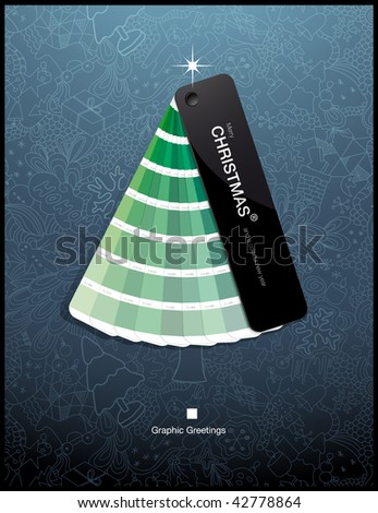 graphic greetings - color swatch christmas tree :) - stock vector