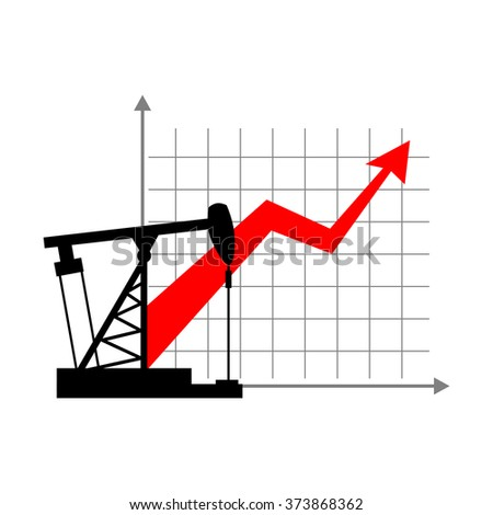 Graphic growth  and oil rig. Oil quotations grow up. info graphic Oil production. Red arrow price increase of petroleum products on market. Business illustration.Oil pump Schedule for presentation. - stock vector