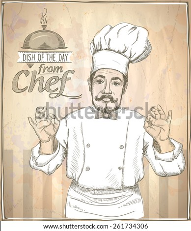 Graphic hand drawing chef cook showing okay, vintage style. - stock vector