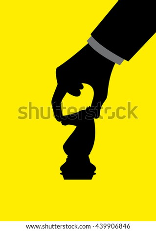 Graphic illustration of a man hand holding chess knight piece, strategy, strategic, move, business concept - stock vector