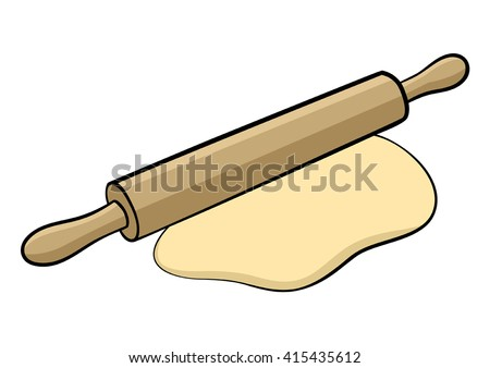 Graphic illustration of a rolling-pin isolated on white