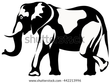 graphic illustration of walking African elephant