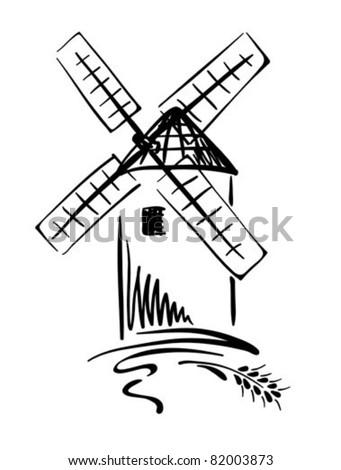 Graphic Illustration - windmill - stock vector