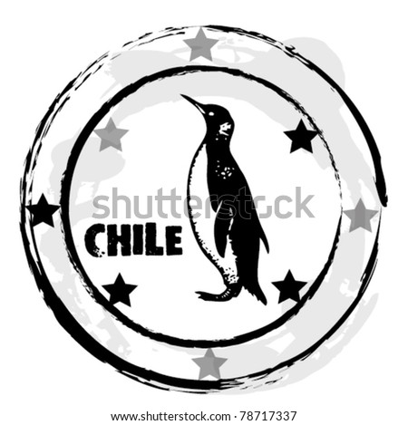 graphic image that simulates a rubber stamp  different countries. Chile.  vector illustration. - stock vector