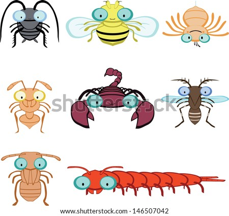 graphic insects and arthropod include cockroach, fly, spider, ant, scorpion, mosquito, termite  - stock vector
