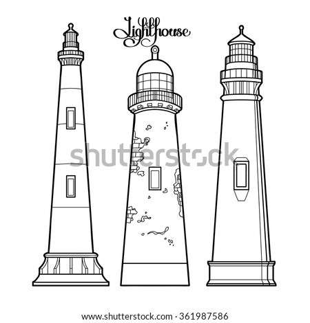 Graphic lighthouses set. three variants of the architectural form. Graphic vector illustration isolated on white background. Coloring book page design for adults and kids - stock vector