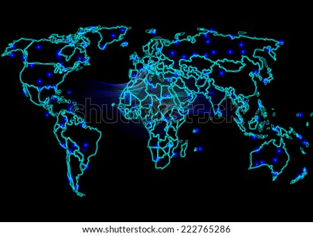 Graphic map of the world,Abstract computer graphic World map of blue round dots. Vector illustration.