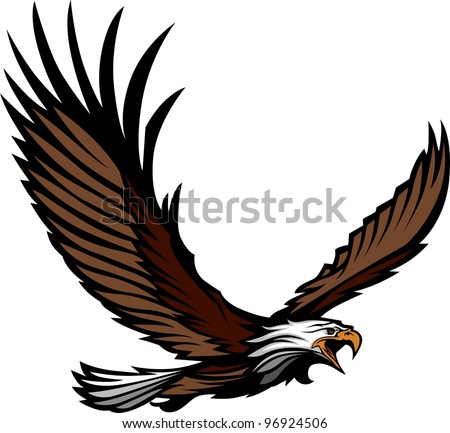 Graphic Mascot Image of a Flying Eagle with Wings Vector Illustration - stock vector
