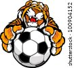 Graphic Mascot Vector Image of a Friendly Tiger with Paws on a Soccer Ball - stock vector