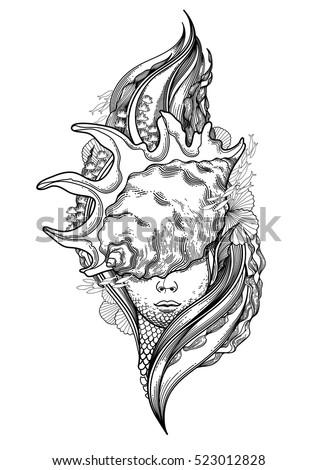 graphic mermaid head seashell on her stock vector 523012828 shutterstock. Black Bedroom Furniture Sets. Home Design Ideas