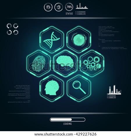 graphic of scientific interface - stock vector