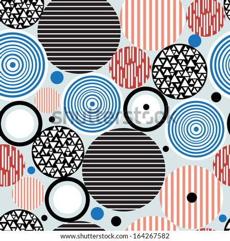 graphic pattern of multicolored circles of different textural - stock vector