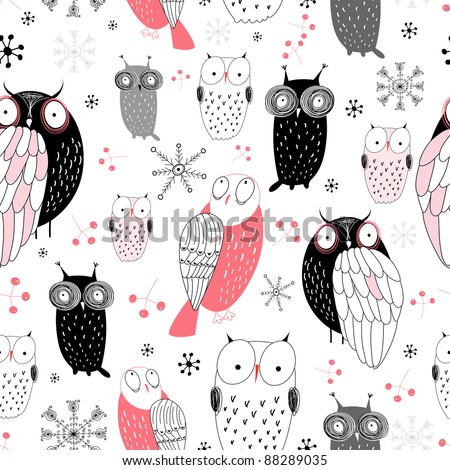 graphic pattern of owls