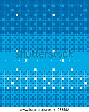 Graphic pixels mosaic. Blue vector background. - stock vector