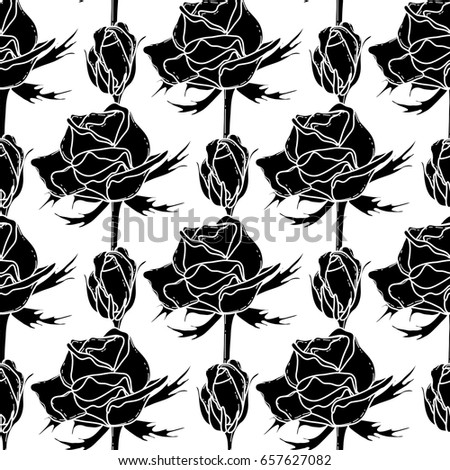 Graphic roses. Vector seamless pattern. Coloring page design for adults and kids
