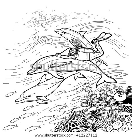 Graphic set scuba divers silhouettes isolated stock vector for Scuba diver coloring page