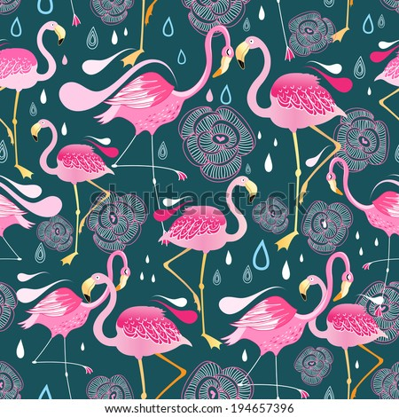 Graphic seamless pattern with bright flowers and flamingos against a dark background   - stock vector